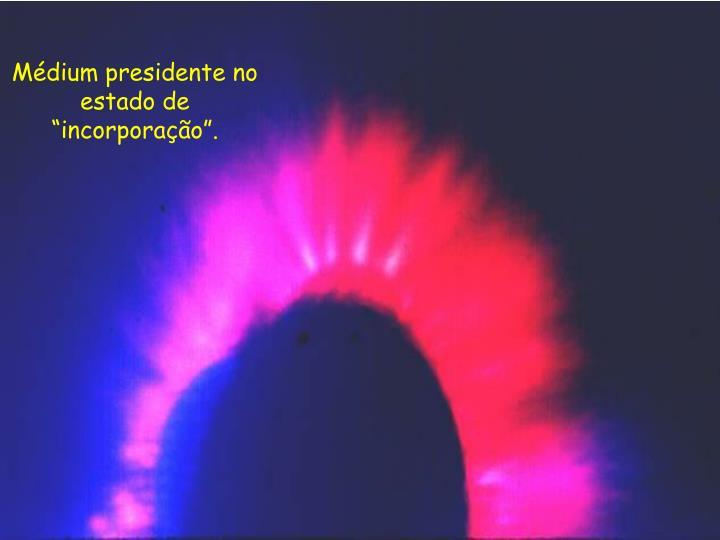 """Médium presidente no estado de """"incorporação""""."""