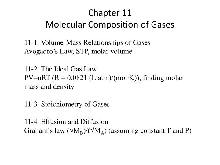 PPT - Chapter 11 Molecular Composition of Gases PowerPoint
