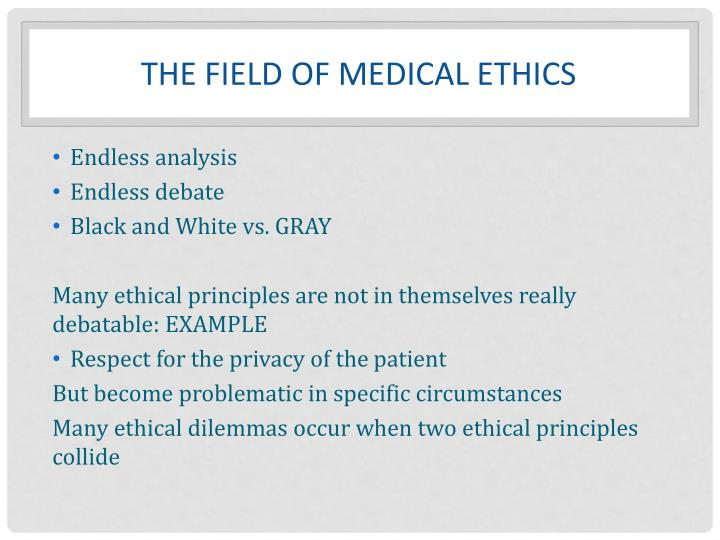 THE FIELD OF MEDICAL ETHICS