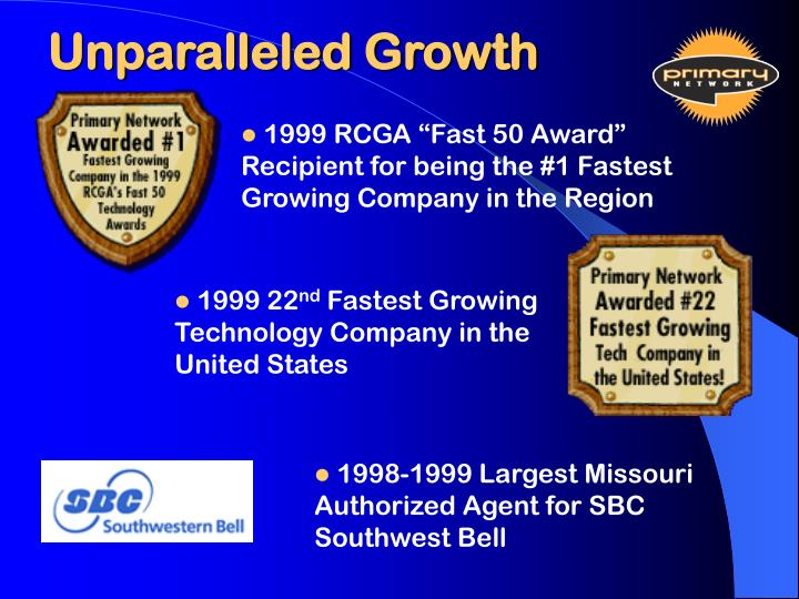 Unparalleled growth