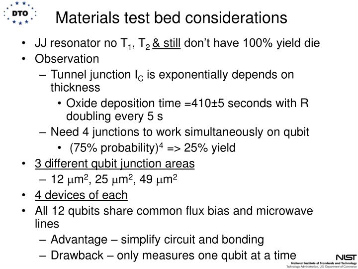 Materials test bed considerations