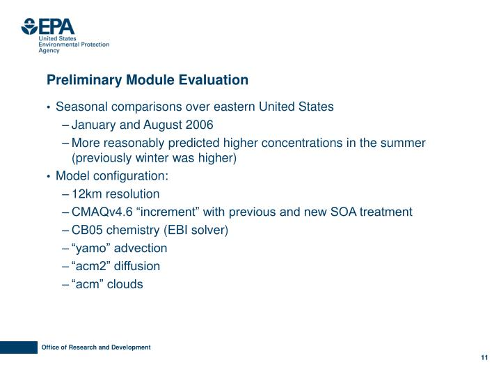 Preliminary Module Evaluation