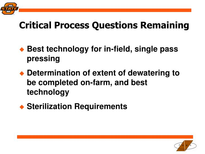 Critical Process Questions Remaining