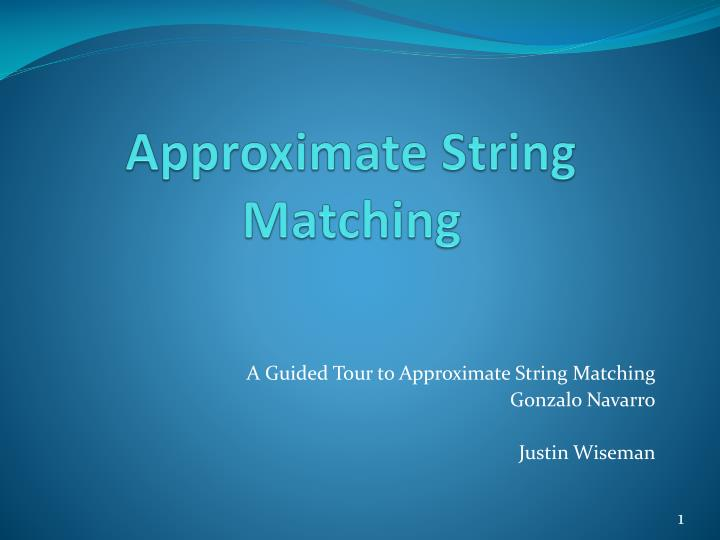 approximate string matching n.