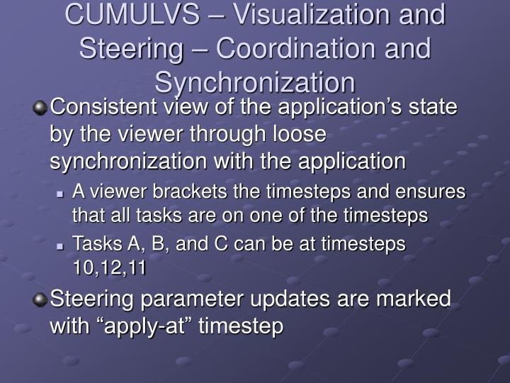CUMULVS – Visualization and Steering – Coordination and Synchronization