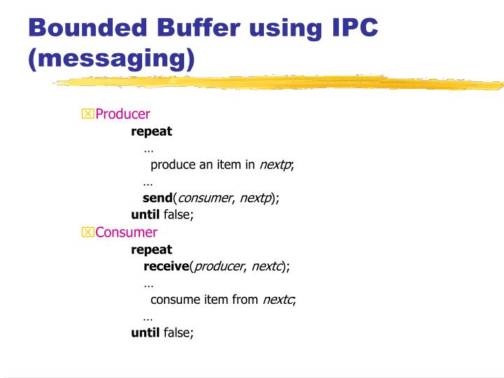 Bounded Buffer using IPC (messaging)