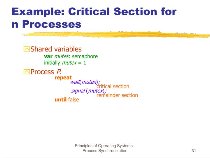 Example: Critical Section for n Processes