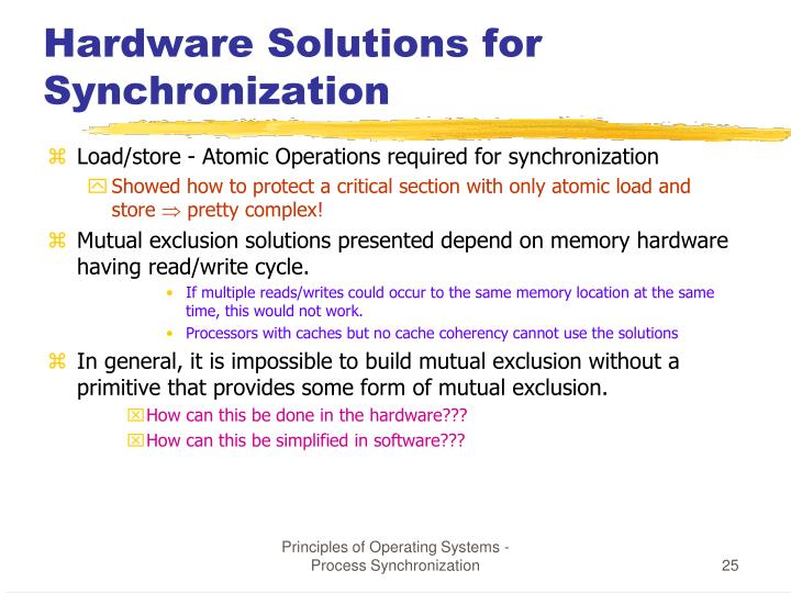 Hardware Solutions for Synchronization