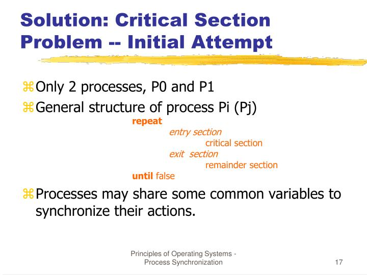Solution: Critical Section Problem -- Initial Attempt