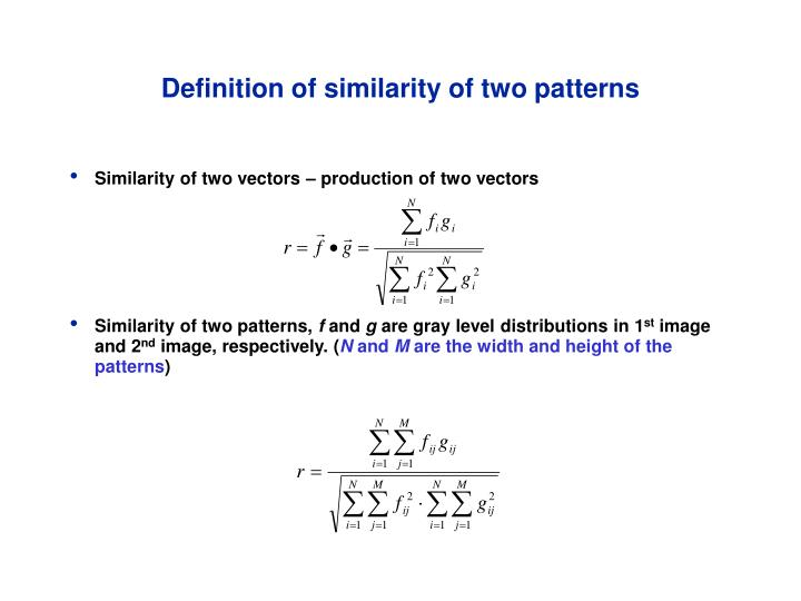 Definition of similarity of two patterns