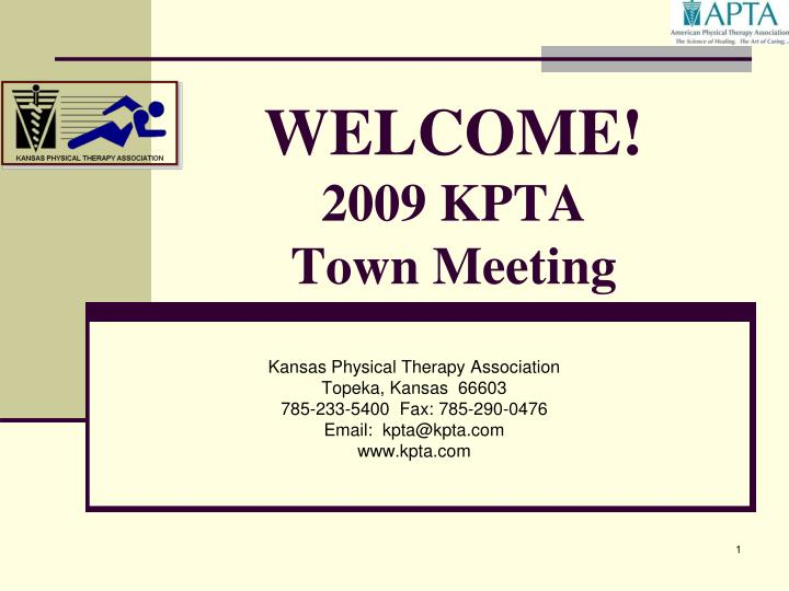 welcome 2009 kpta town meeting n.