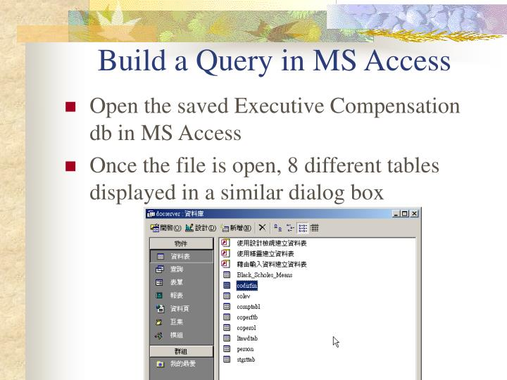 Build a Query in MS Access