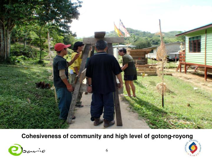 Cohesiveness of community and high level of gotong-royong