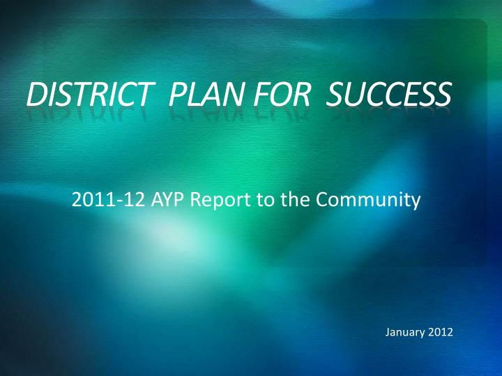 district plan for success n.