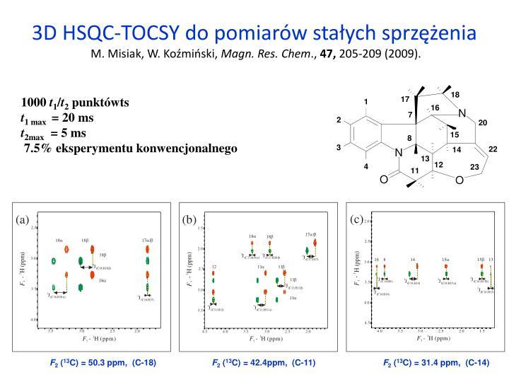 3D HSQC-TOCSY do pomiarów stałych sprzężenia