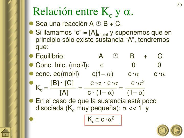 Relación entre K