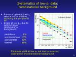 systematics of low p t data combinatorial background