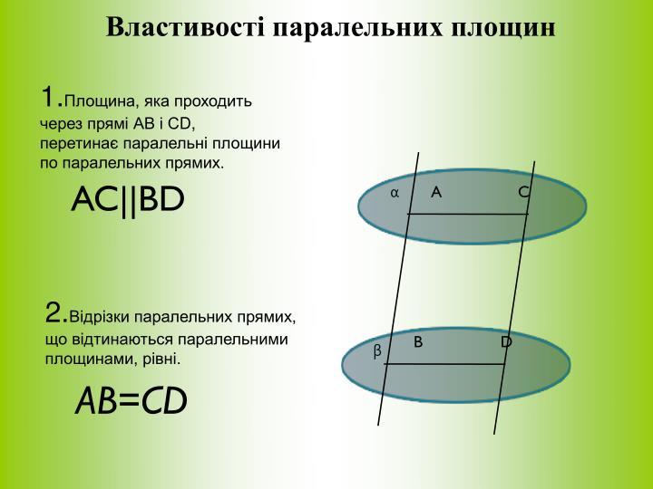 Властивості паралельних площин