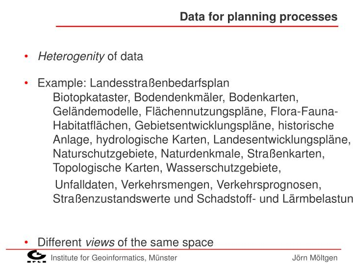 Data for planning processes