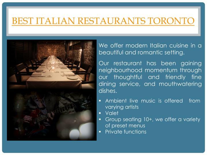 Best italian restaurants toronto