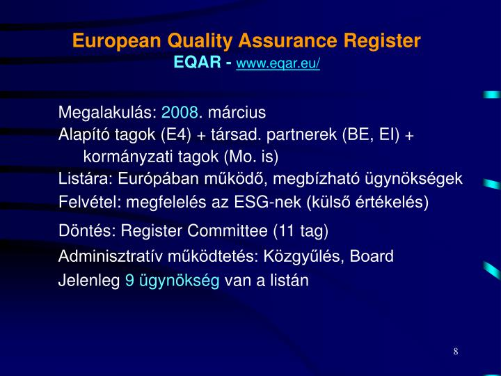 European Quality Assurance Register