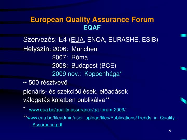 European Quality Assurance Forum