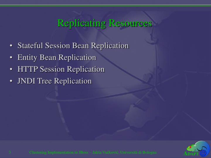 Replicating resources