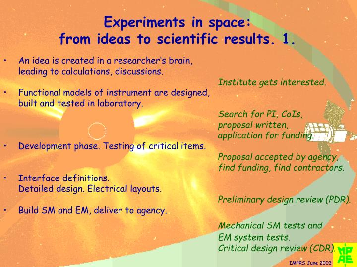 Experiments in space: