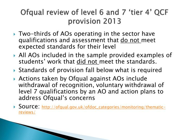 Ofqual review of level 6 and 7