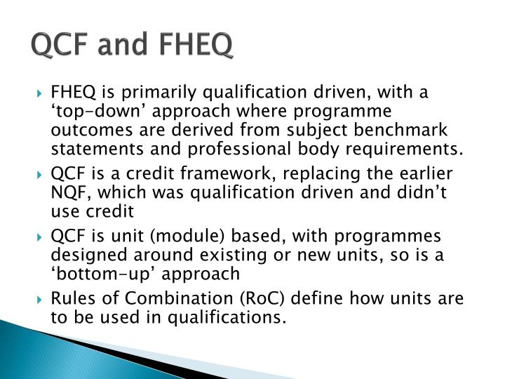 QCF and FHEQ