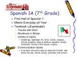 spanish 1a 7 th grade