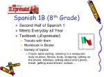 spanish 1b 8 th grade