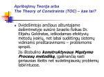 apribojim teorija arba the theory of constraints toc kas tai