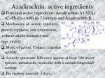 azadirachtin active ingredients