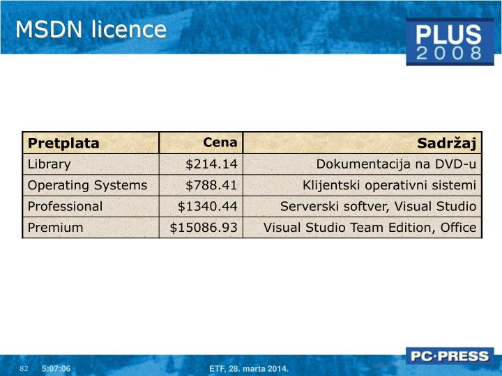 MSDN licence