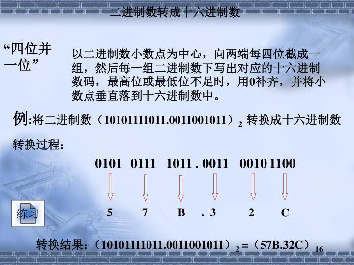 二进制数转成十六进制数