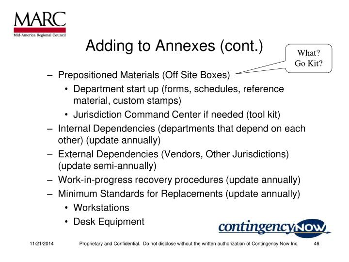 Adding to Annexes (cont.)