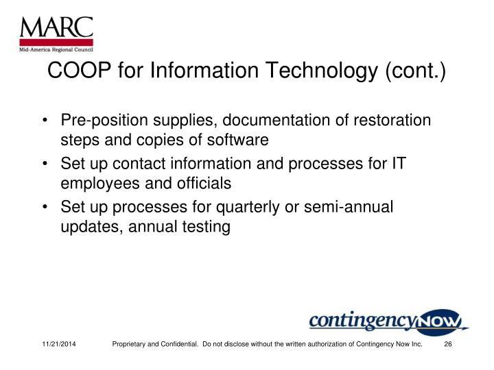 COOP for Information Technology (cont.)