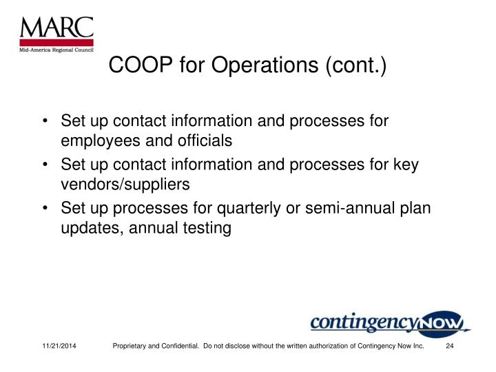 COOP for Operations (cont.)