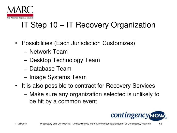 IT Step 10 – IT Recovery Organization