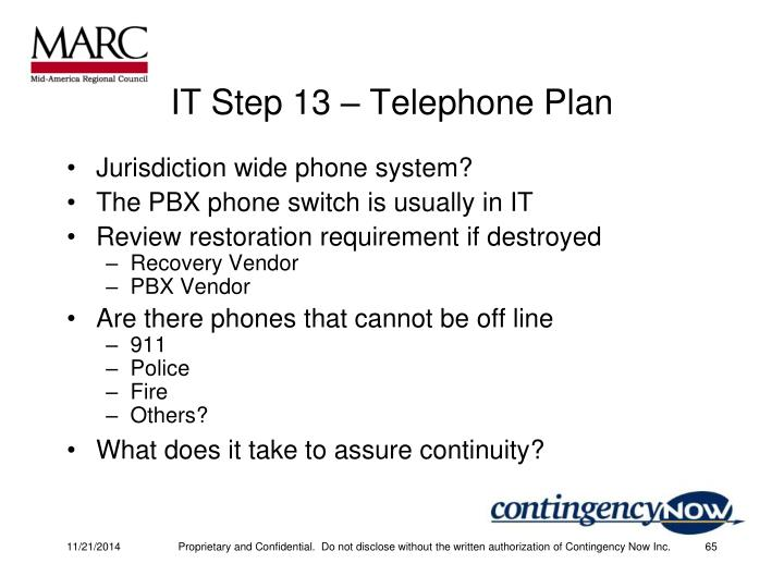 IT Step 13 – Telephone Plan
