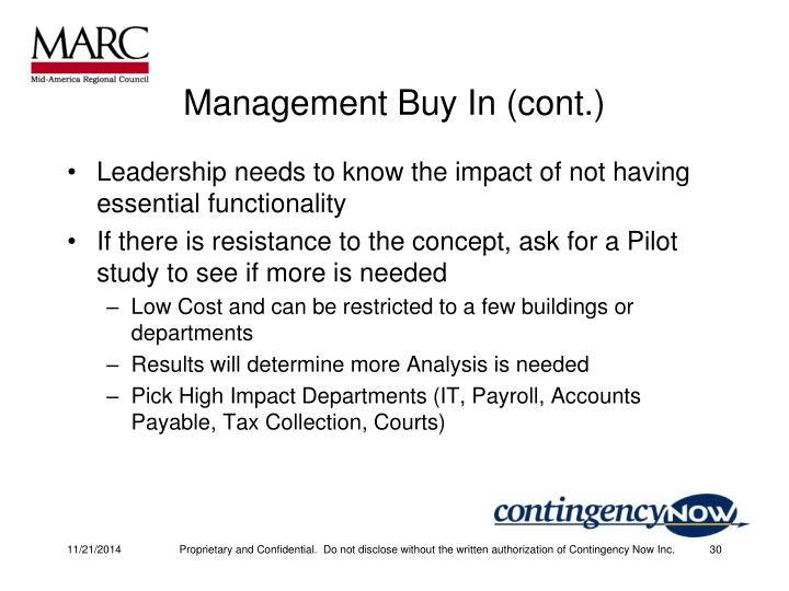 Management Buy In (cont.)