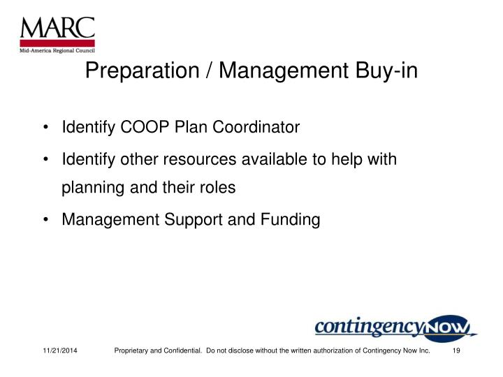 Preparation / Management Buy-in