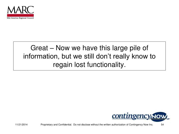 Great – Now we have this large pile of information, but we still don't really know to regain lost functionality.