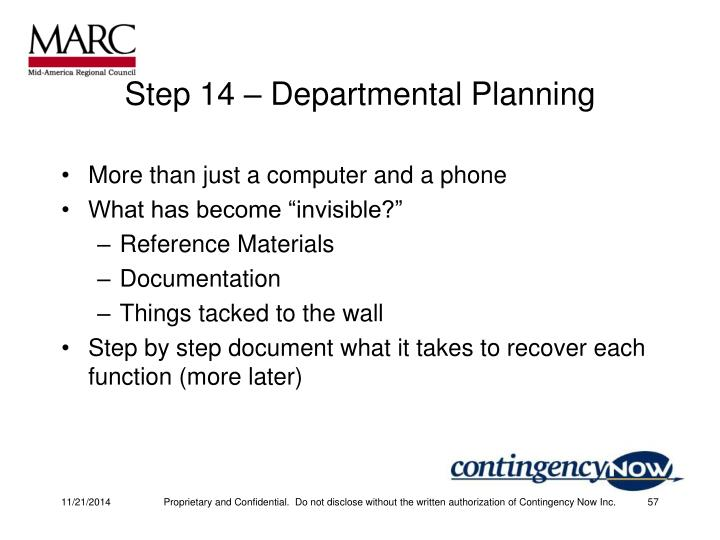 Step 14 – Departmental Planning