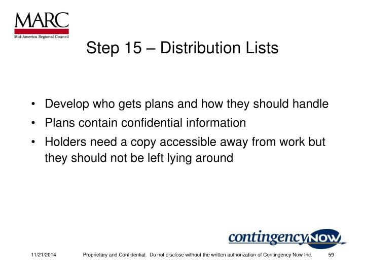 Step 15 – Distribution Lists