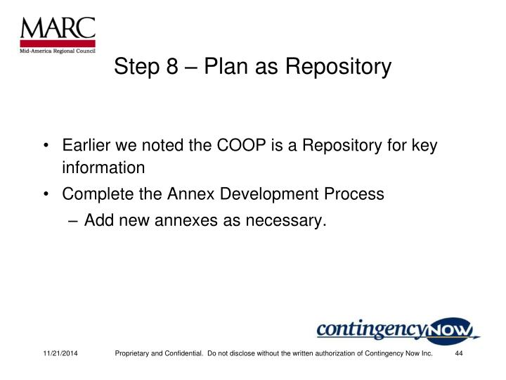 Step 8 – Plan as Repository
