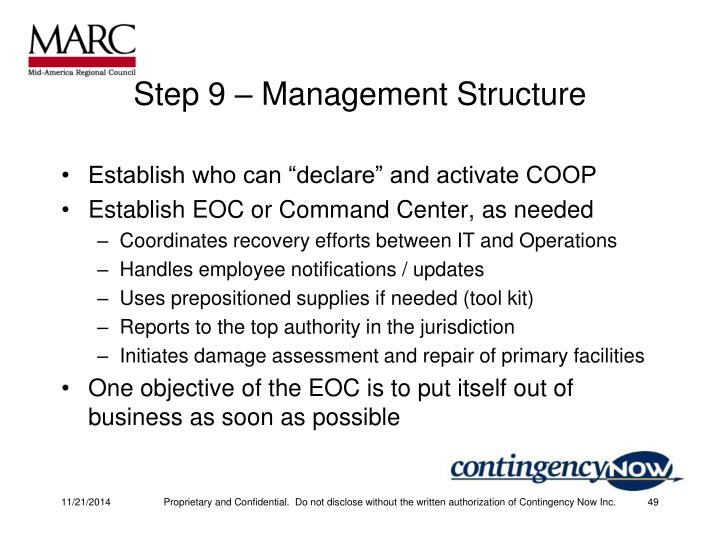Step 9 – Management Structure