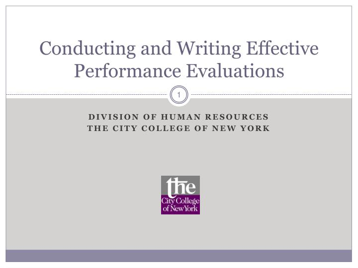 conducting and writing effective performance evaluations n.