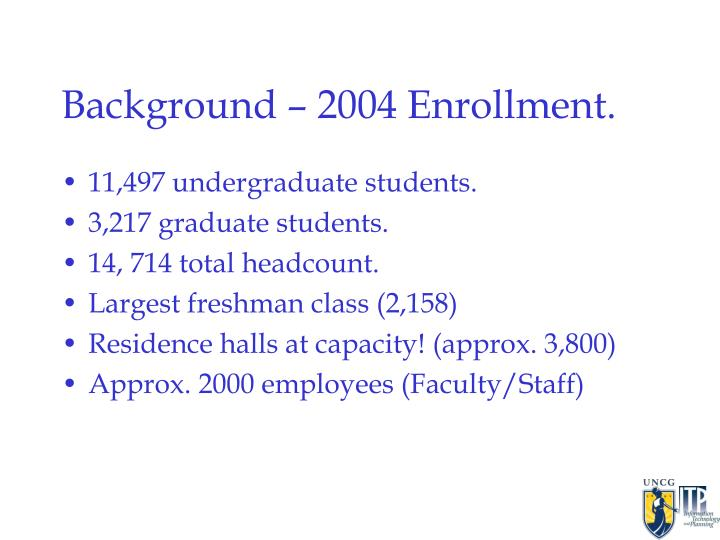 Background 2004 enrollment